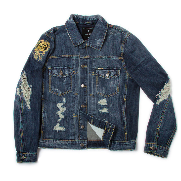 Posh Denim Distressed Jacket - Blue - Trends Society