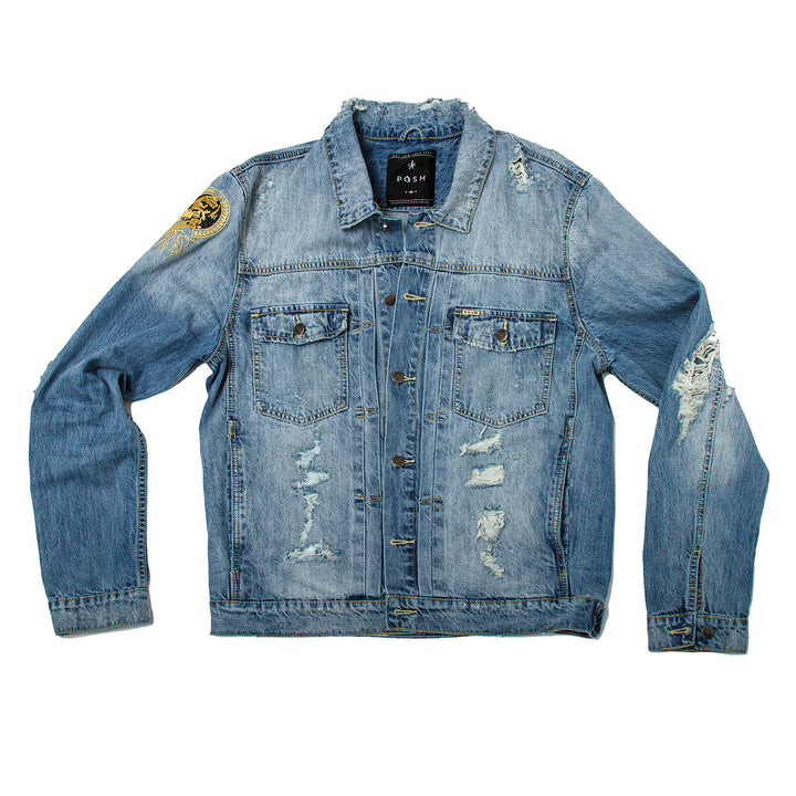 Posh Denim Distressed Jacket - Washed Blue - Trends Society