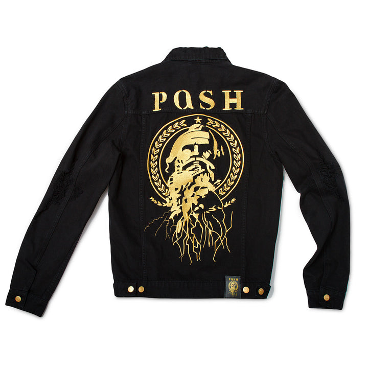 "Posh Denim Distressed Jacket ""Posh"" - Black - Trends Society"