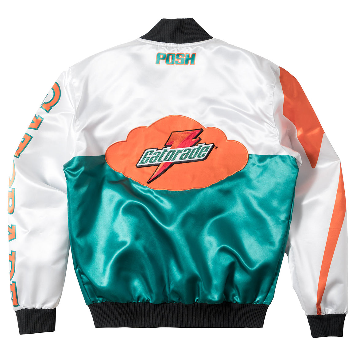"Posh ""GatoRacing"" Two Tone Satin Racing Jacket White Green - Trends Society"