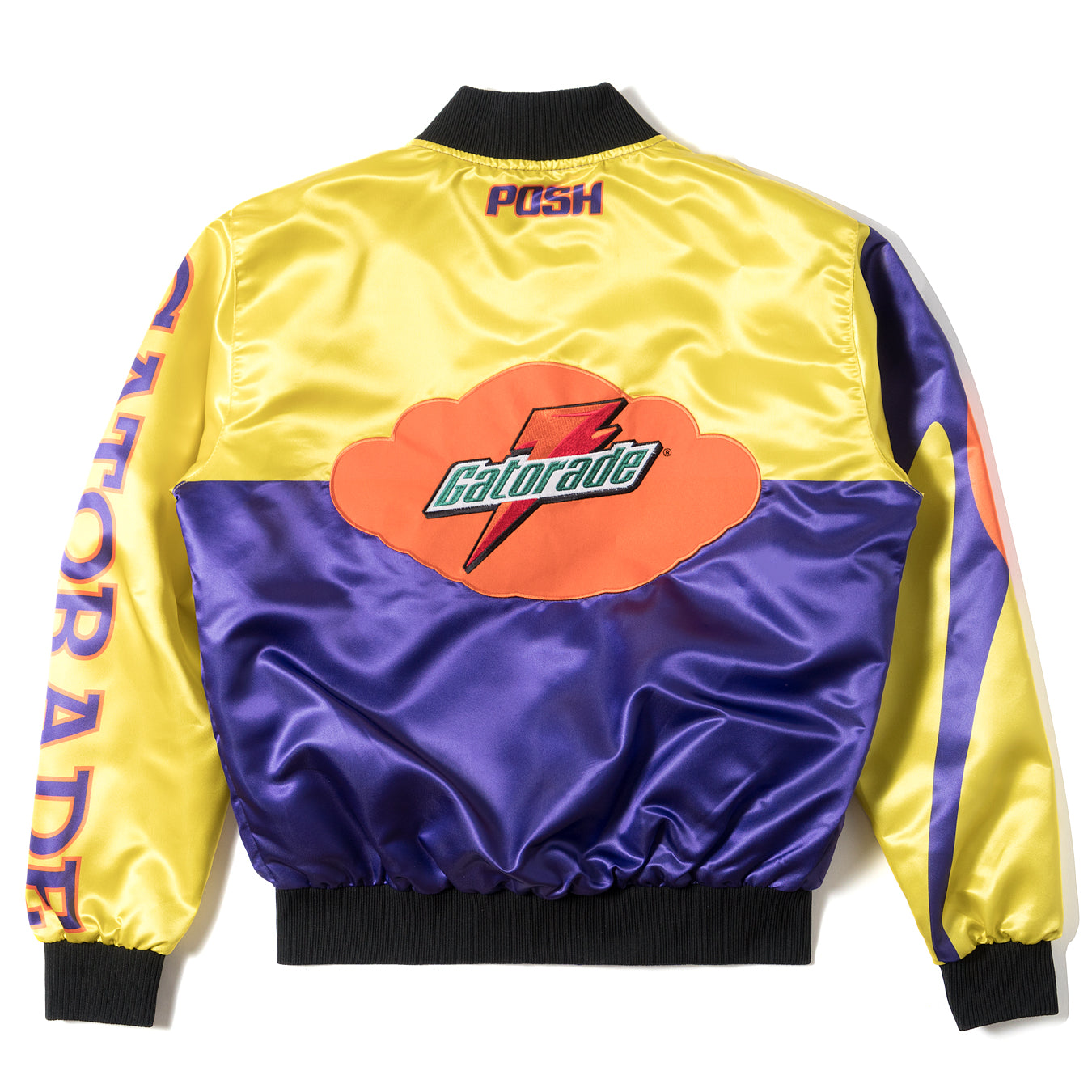 "Posh ""GatoRacing"" Two Tone Satin Racing Jacket Yellow Purple - Trends Society"