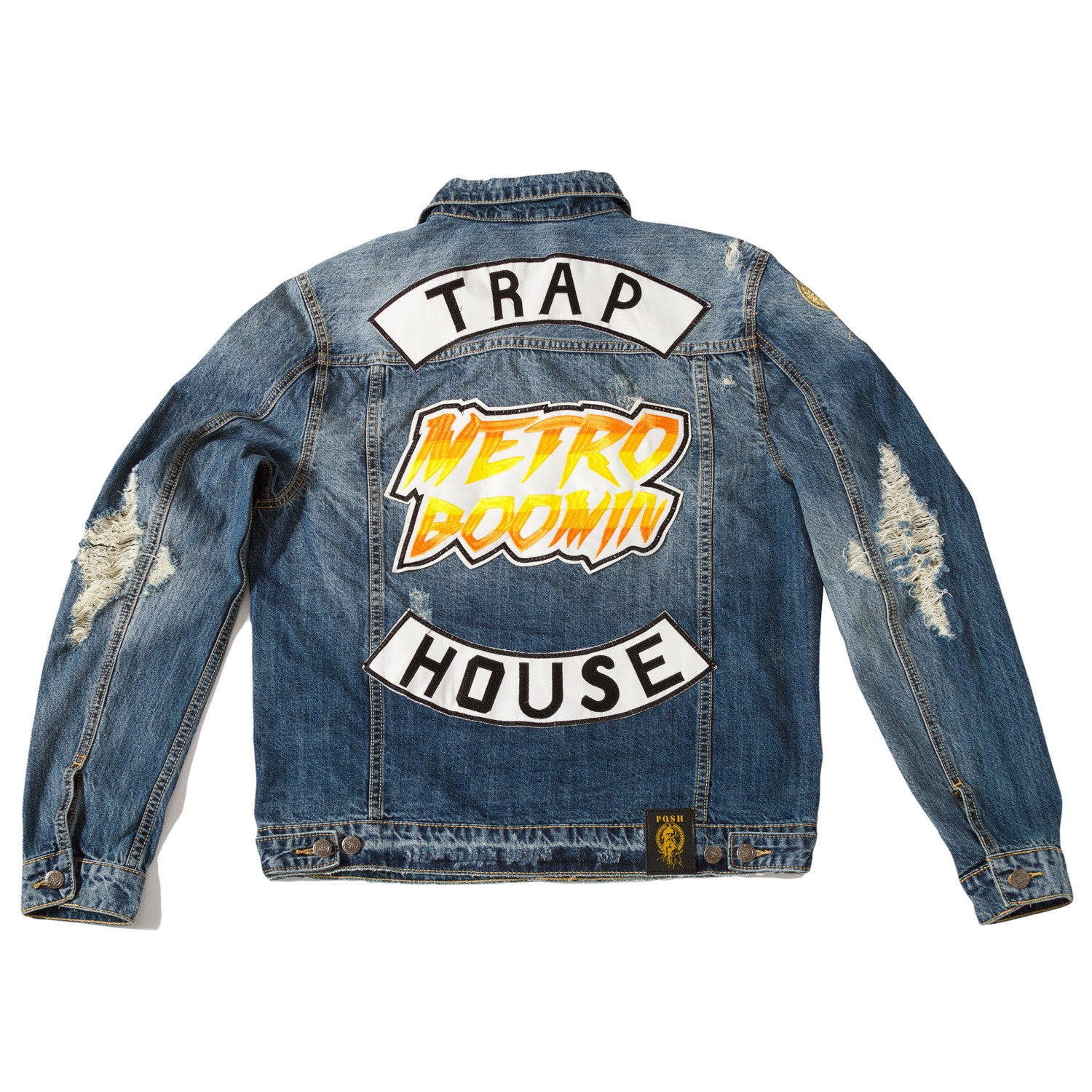 "Posh Denim Distressed Jacket ""Metro Boomin"" - Trends Society"