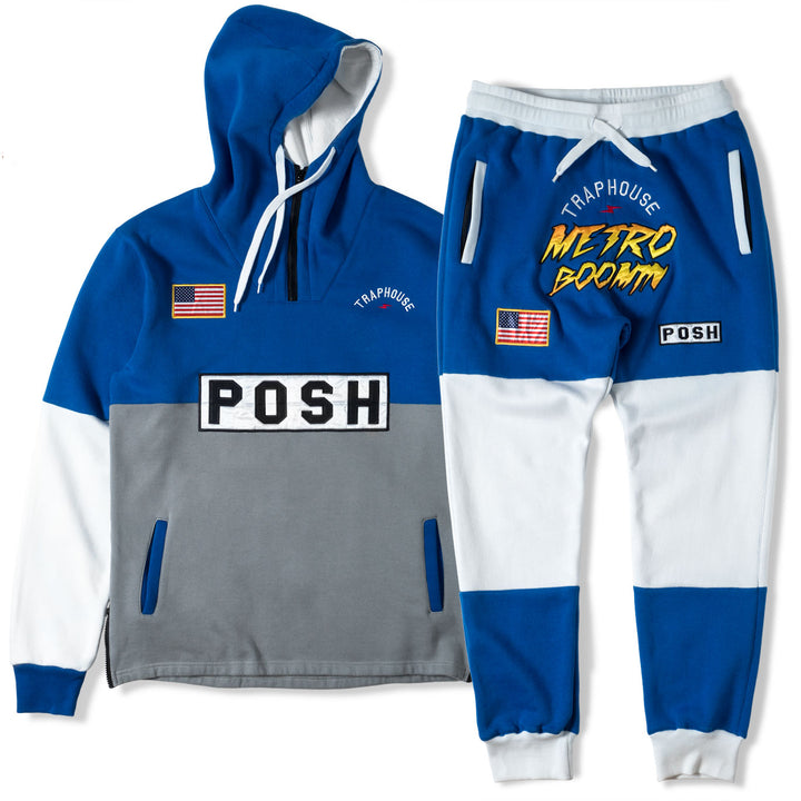 Posh Metroboomin Embroidered Men Sweatsuit Blue and White - Trends Society