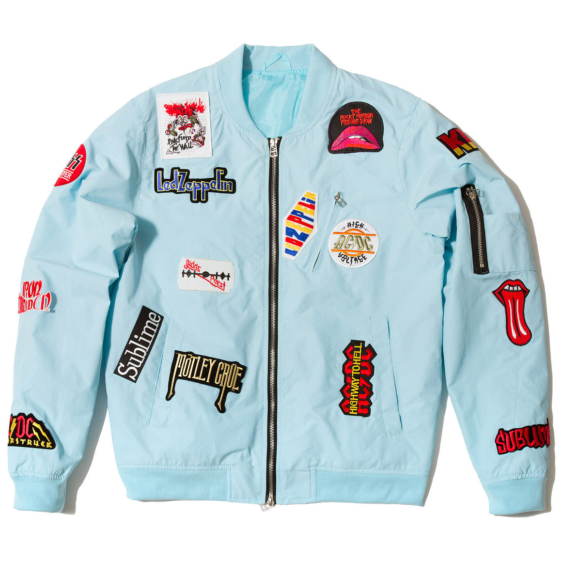 "Posh Light Bomber Jacket ""Rock Hard"" Light Blue - Trends Society"