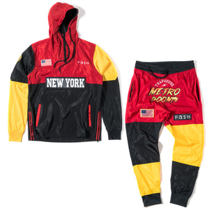 Metro Boomin Three Tone Windbreaker Set Slim Fit by Posh - Trends Society