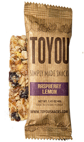 ToYou Snacks | Raspberry Lemon | simply made healthy fruit and nut snack bars