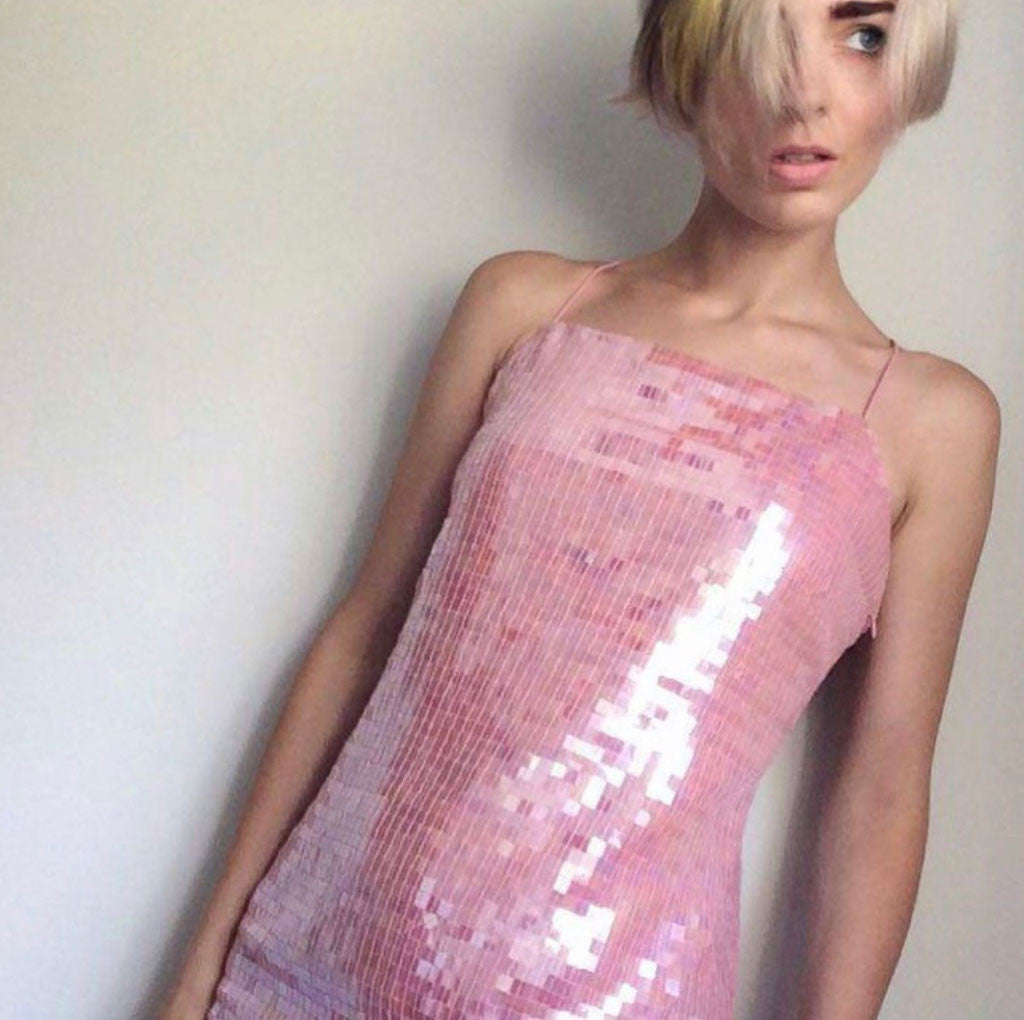 Prelovely - Eliza Likes Clothes in Vintage Pink Sequin Slip Dress