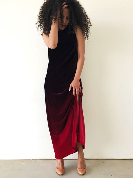 Prelovely | Vintage 90s Burgundy Ombre Velvet Dress