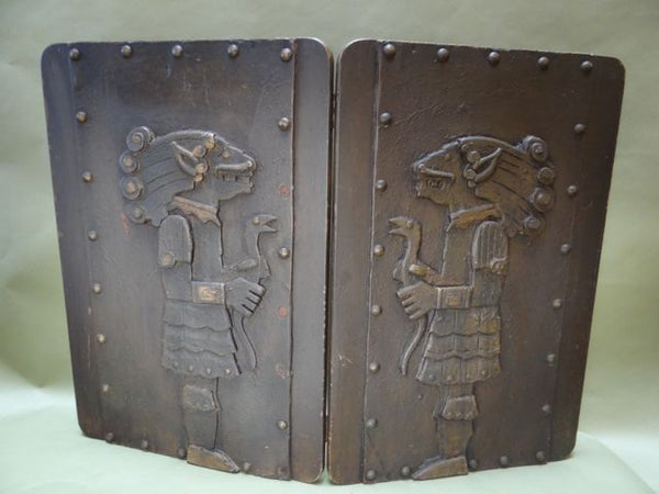Aztec Motif Carved Wooden Bi-fold Screen