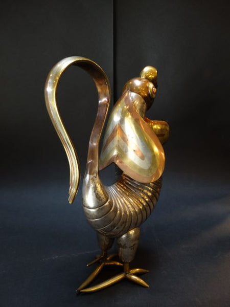Los Castillo-attributed Silver, Brass and Copper Rooster Pitcher