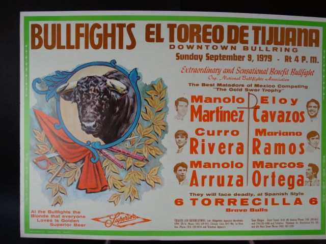 Mexican Bullfighter Poster Featuring the Bull of Bull's Superior Beer