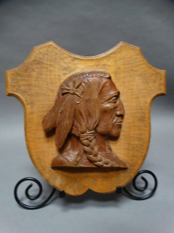 Wooden Bas-relief Indian Plaque