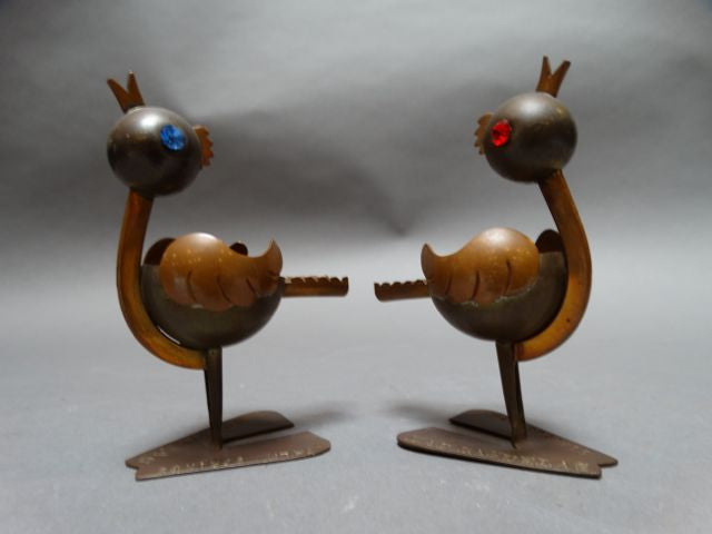 Mexican Copper and Silverplate Bird Ashtrays