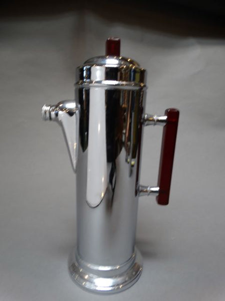 Deco Chrome Cocktail Shaker w Red Plastic Handle