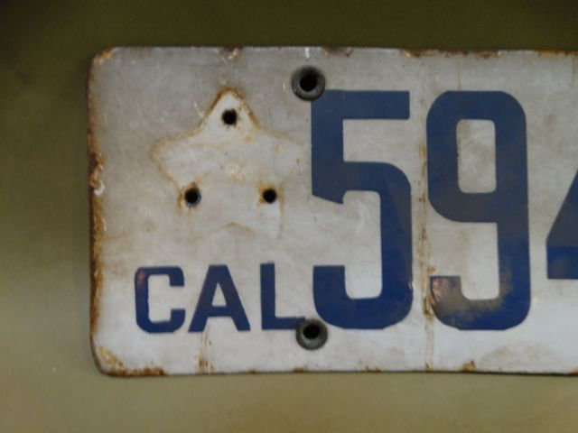 Early California Porcelain License Plate in not so great condition