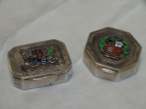 Pair of Peruvian Silver Boxes w. Enamel