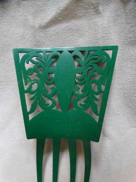 Celluloid Green Mantilla Comb