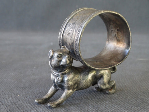 Victorian Bull Terrier Silverplate Napkin Ring