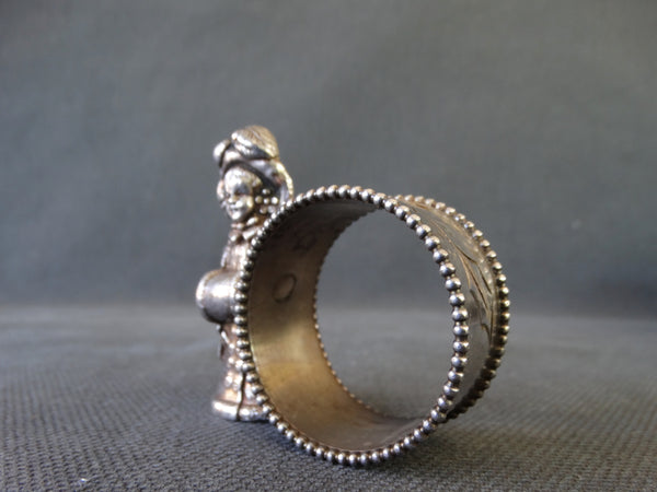 Victorian Christmas Caroler Silverplate Napkin Ring