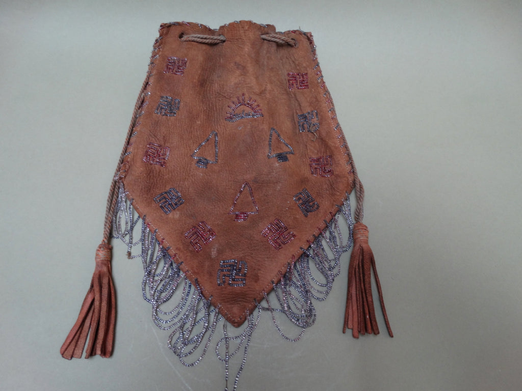 Arts & Crafts Leather Pouch Beaded Bag