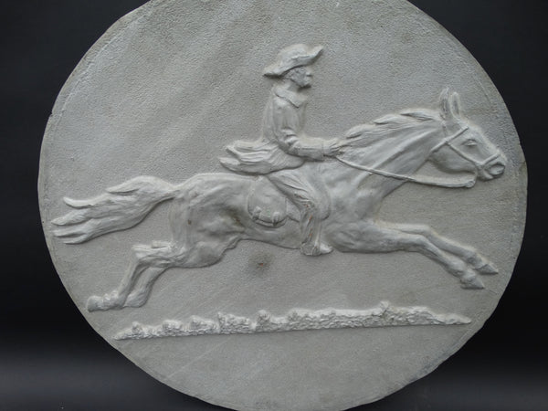 Wells Fargo Pony Express-style rider on horse aluminum plaque
