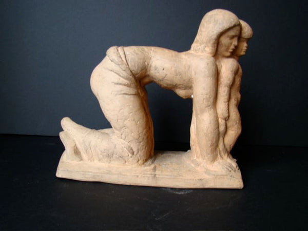 Clay Maquette of Woman and Child by Henry Lion