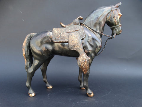 Copper Horse Statuette with removable Ornamental Saddle c 1940