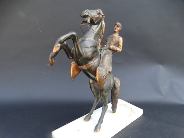 Copper-Finish Figure of Horse and Rider, Horse Rearing c 1933