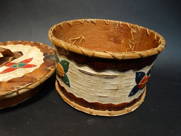 American Indian Bark and Leather Basket