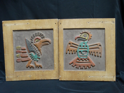 Thunderbird & Roadrunner: Pair of Hand Carved and Painted Wooden Plaques