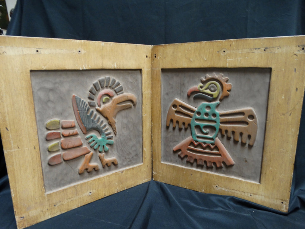 Thunderbird Roadrunner Pair Of Hand Carved And Painted Wooden