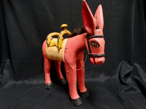 Mexican Donkey, Painted Wood c 1950s