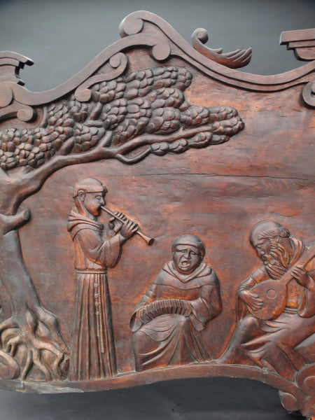 Massive Spanish Colonial Style Carved Redwood Figural Plaque of a Mission Scene