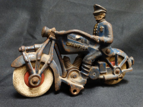 Hubley Champion Harley Davidson and Rider Cast Iron Toy