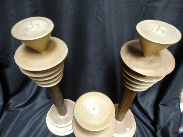 Machine Age Deco Plate Candlesticks