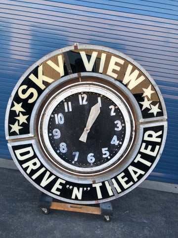 "Sky View Drive ""N"" Theater Neon Clock 1950s"