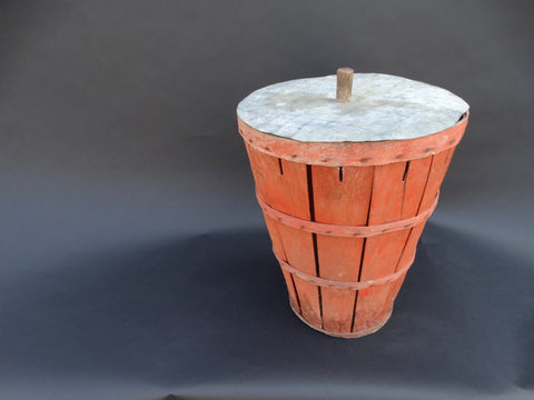 Orange New Mexican Fruit Basket with Wooden Handled Tin Lid