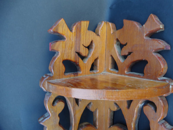 Stags and Foliage Jig-sawed Hand-made Corner Shelf c 1930