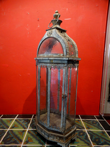 Spanish Revival Early 20th Century Glass and Aluminum Santos Case
