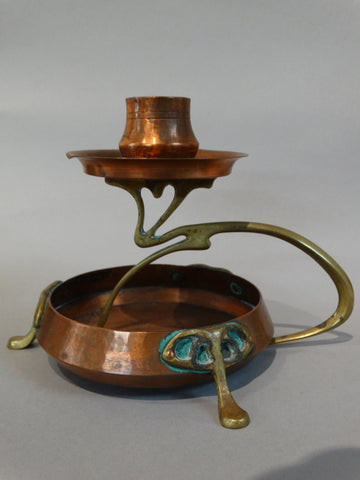 Art Nouveau/Secessionist Candle Holder in Copper and Brass c 1900 A2259