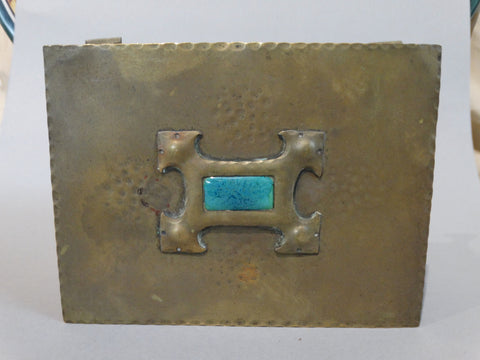 British Arts & Crafts/Art Deco Brass Jewelry Box With Inlaid Glazed Blue Tile c1910