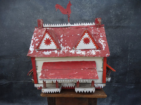 Folk Art Bungalow Birdhouse