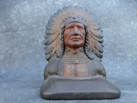 Arts & Crafts Cast Iron Indian Chief Single Bookend