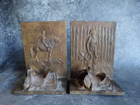 Mehl Lawson Cowboy Saddle Patinated Bronze Bookends A2322