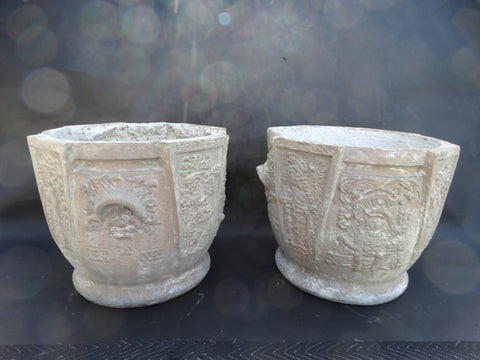 Pair of Italian Terracotta Mayan Revival Pots A2326