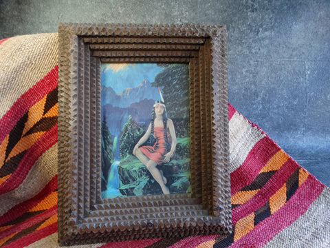 Folk Art Indian Princess in a Tramp Art Frame c 1910 A2329