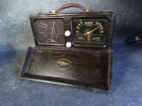 Zenith Universal Wave Magnet Travel Radio 6G601ML in original Alligator Case c 1940s A2345