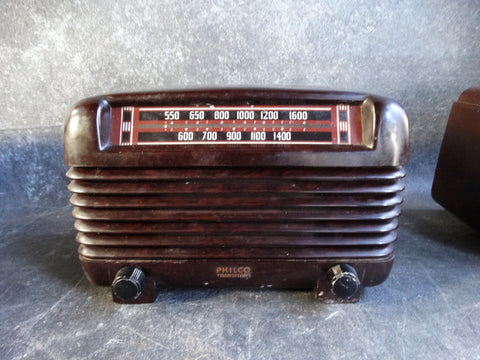 11940s PHILCO Transitone Model 48-250 Bakelite Art Deco AM TUBE RADIO - A2348