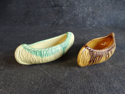 Pair of Hand-Glazed Earthenware Pottery Canoe Planters A2368