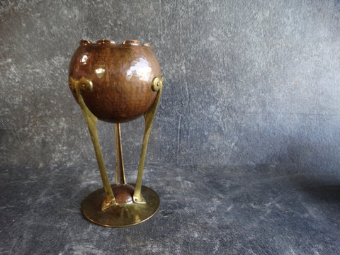 German Secessionist Spherical Vase on a Tripod Stand in Copper and Brass c1900 A2375